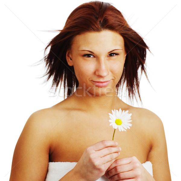 Gyönyörű fürdő nő fehér lány kezek Stock fotó © cardmaverick2