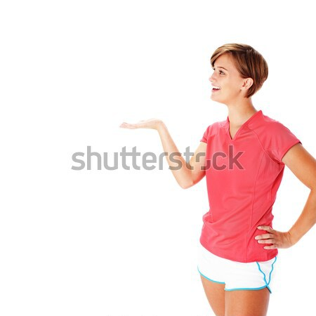 Foto stock: Jóvenes · mujer · de · la · aptitud · rojo · camisa · aislado