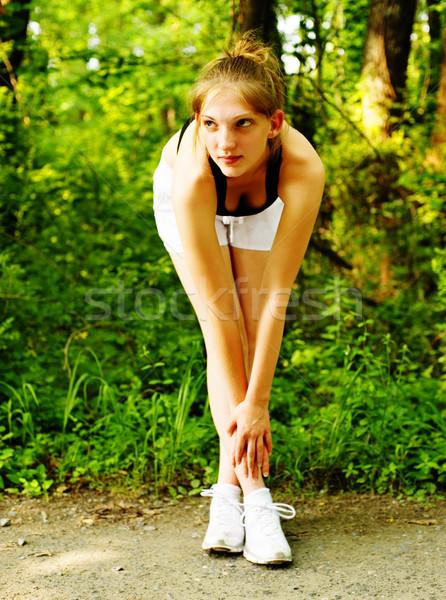 Kadın iz koşucu fotoğrafları doğa Stok fotoğraf © cardmaverick2
