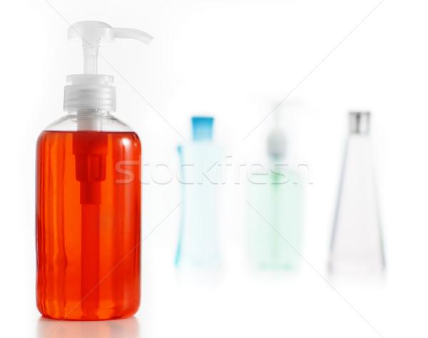 Foto stock: Jabón · loción · champú · blanco · bano · producto