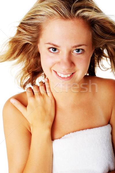 Foto stock: Hermosa · jóvenes · spa · mujer · blanco