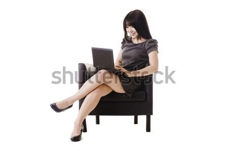 çekici Çin kadın çalışma netbook'lar bilgisayar Stok fotoğraf © cardmaverick2