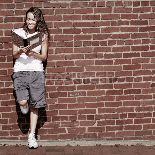 Brick Wall Notebook Girl Stock photo © cardmaverick2