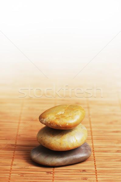 Fürdő kirakat boglya kövek felső bambusz Stock fotó © cardmaverick2