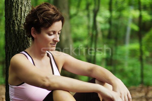 Mature Woman Runner Resting Stock photo © cardmaverick2