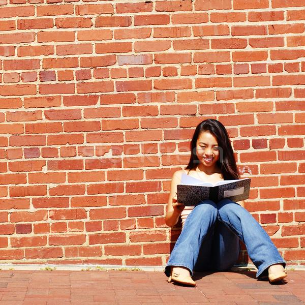 девушки Дать сведению книга ноутбук город Сток-фото © cardmaverick2