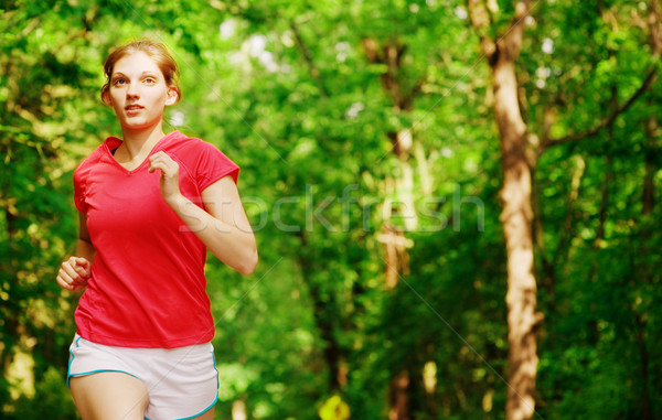 женщину красный работает тропе Runner полный Сток-фото © cardmaverick2