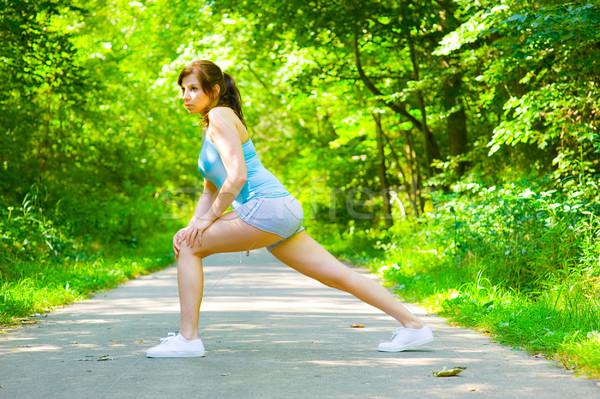 Genç kadın açık antreman egzersiz fotoğrafları Stok fotoğraf © cardmaverick2