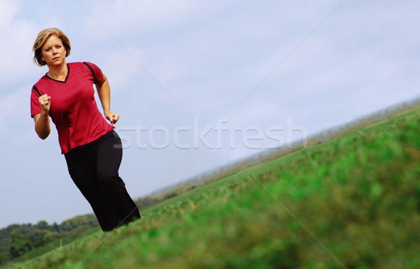 Volwassen jogger rijpe vrouw jogging groot zomer Stockfoto © cardmaverick2