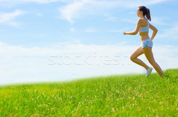 Mujer madura atleta primavera pradera mujer Foto stock © cardmaverick2