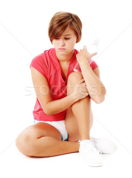 Foto stock: Jóvenes · mujer · de · la · aptitud · rojo · camisa · aislado · blanco
