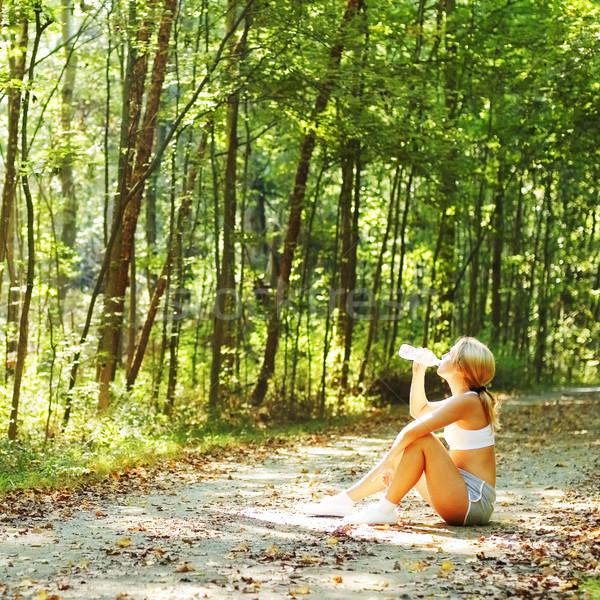 довольно молодые Runner лес девушки Сток-фото © cardmaverick2