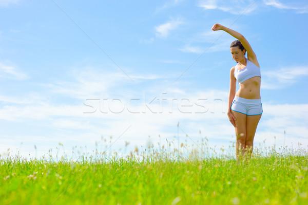 Foto stock: Mujer · madura · atleta · primavera · pradera · mujer