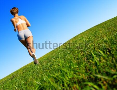 Foto stock: Mujer · hermosa · corredor · hermosa · entrenamiento · mujer