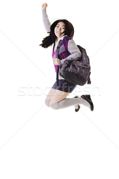 Kínai iskolás lány ugrik levegő női diák Stock fotó © cardmaverick2