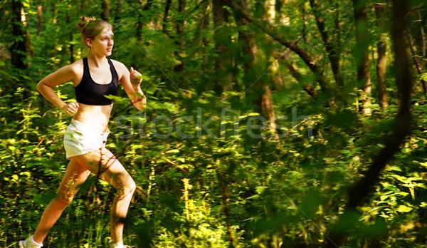 Nő nyom futó teljes fotók természet Stock fotó © cardmaverick2