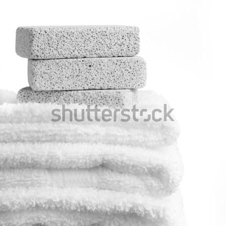 Fürdő jelenet kövek törölközők fehér háttér Stock fotó © cardmaverick2