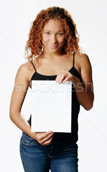 Bastante nina los medios de comunicación blanco mujer Foto stock © cardmaverick2
