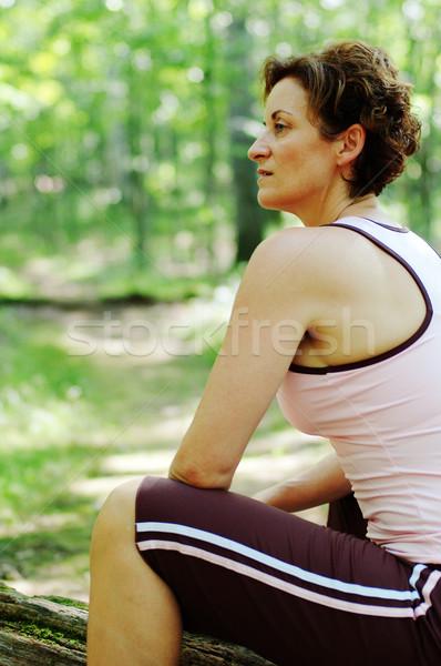 成熟した女性 ランナー 森 女性 春 ストックフォト © cardmaverick2