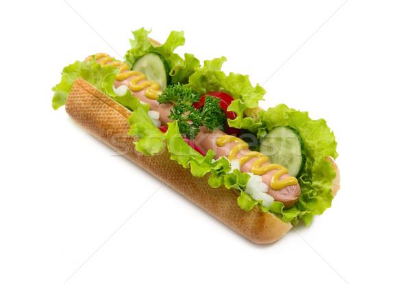 ízletes hot dog étel izolált kutya vacsora Stock fotó © carenas1