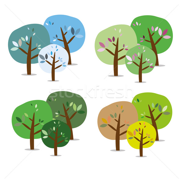 üç yalıtılmış renkli mevsimlik ağaçlar ahşap Stok fotoğraf © carenas1