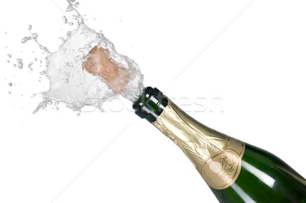 Zdjęcia stock: Wybuchu · zielone · szampana · butelki · korka · spadek