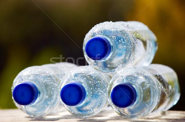 Agua mineral botellas naturaleza azul plástico corcho Foto stock © carenas1