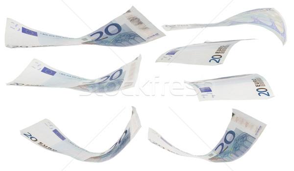Foto stock: Vinte · euro · posições · negócio · dinheiro