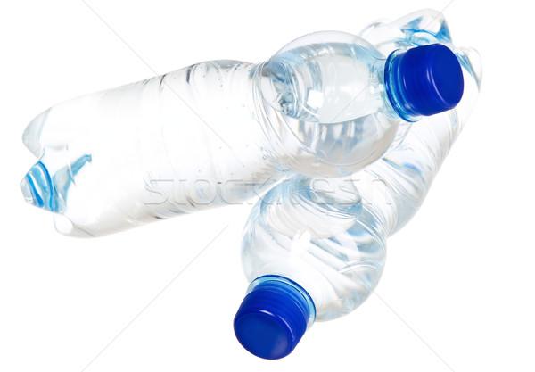 água mineral garrafas azul plástico cortiça água Foto stock © carenas1