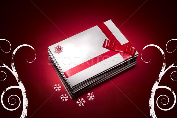 Beyaz zarf Noel kırmızı kartları arka plan Stok fotoğraf © carenas1