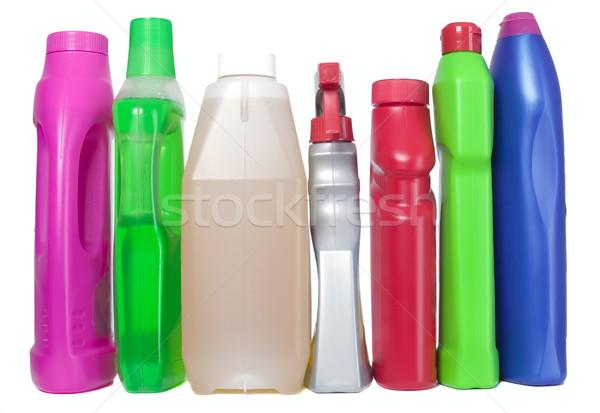 Stock fotó: Különböző · takarítószerek · műanyag · üvegek · háttér · fehér