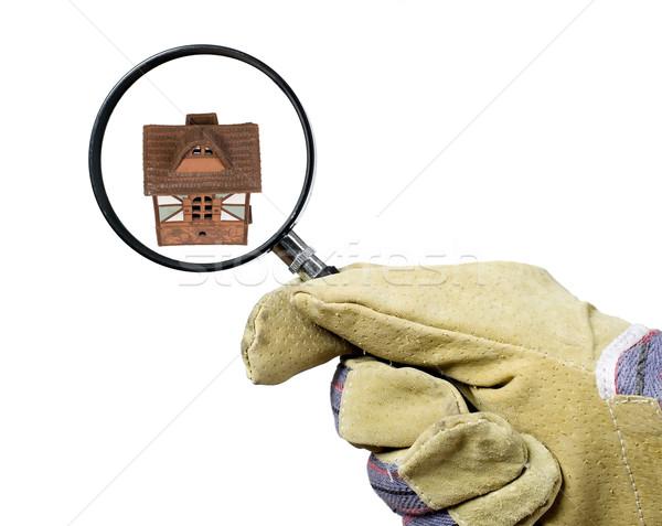 Munkás keres nagyító férfi ipari kesztyű Stock fotó © carenas1