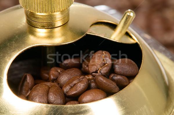Stok fotoğraf: Kahve · öğütücü · ahşap · durum · altın · üst