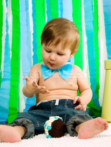 Dziecko pierwszy urodziny niebieski żywności Zdjęcia stock © carenas1