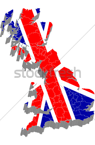 3d map with flag of United Kingdom Stock photo © carenas1