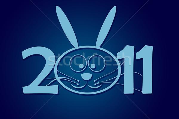 Capodanno 2011 coniglio numero pari a zero felice Foto d'archivio © carenas1