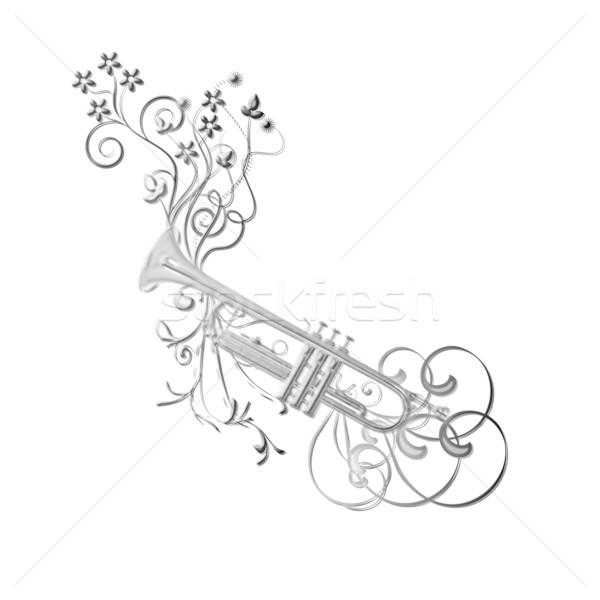 Musical instument trumpet, flowers Stock photo © carenas1