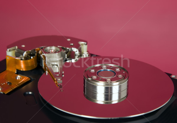 Inside of hard disc  on red background Stock photo © carenas1