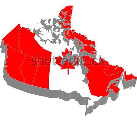 D Map With Flag Of Canada Stock Photo Arunas Gabalis Carenas - Canada map with flag