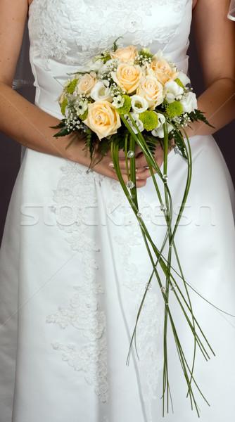 Capina buquê noiva de mãos dadas colorido amor Foto stock © carenas1