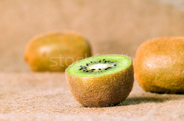 Stockfoto: Groene · vruchten · kiwi · bruin · gesneden · voedsel