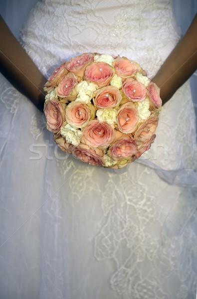 прополка букет невеста , держась за руки красочный свадьба Сток-фото © carenas1