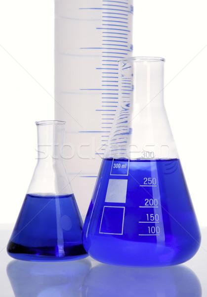 Three flasks with blue fluid Stock photo © carenas1