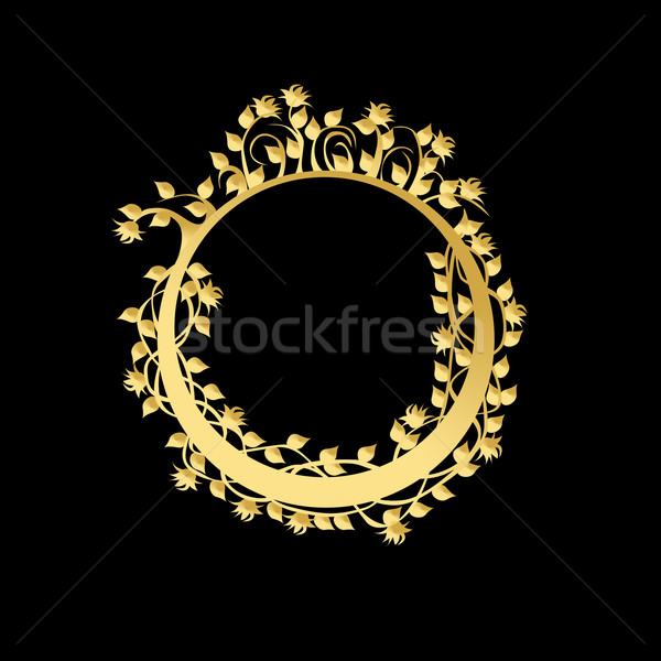 Circle frame with flowers and leaves Stock photo © carenas1