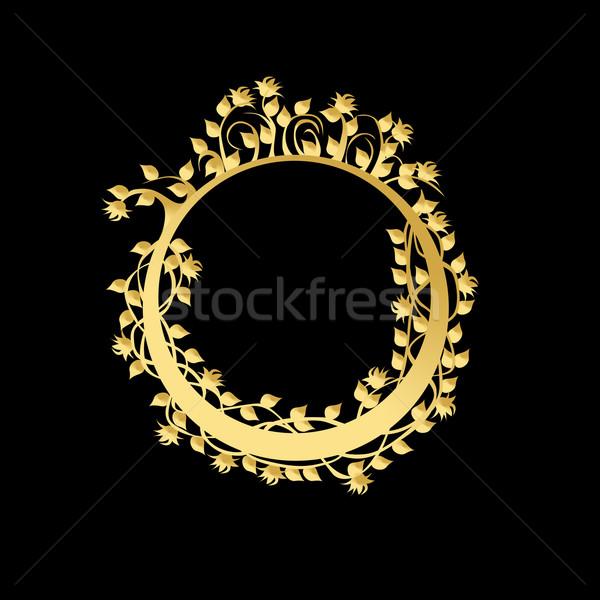 Círculo marco flores hojas negro flor Foto stock © carenas1