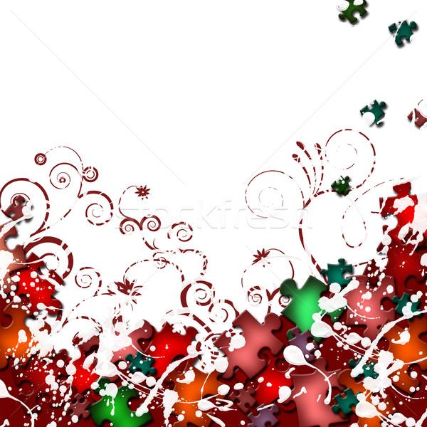 Grunge frame fiori puzzle elementi fiore Foto d'archivio © carenas1