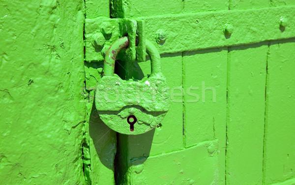 Green metal lock is hanging to protect entrance through doors Stock photo © carenas1