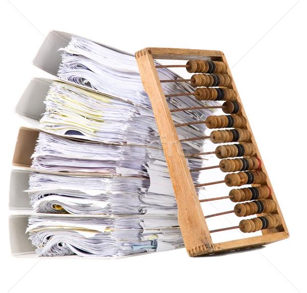 Matematikai számológép abakusz papírok öreg köteg Stock fotó © carenas1