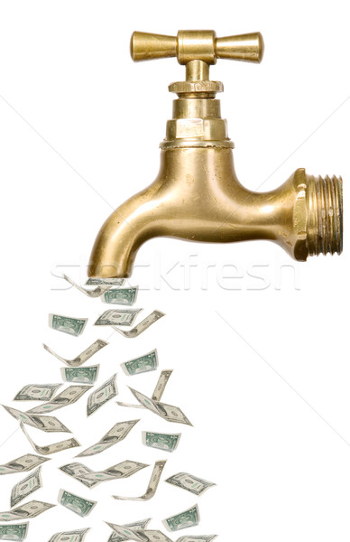 Golden vintage tap with money Stock photo © carenas1