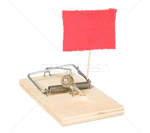 Egér csapda kulcsok papír fa fém Stock fotó © carenas1